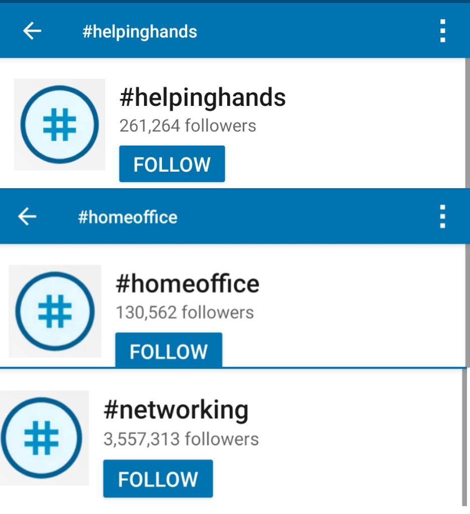 Use of social media Hashtags on LinkedIn
