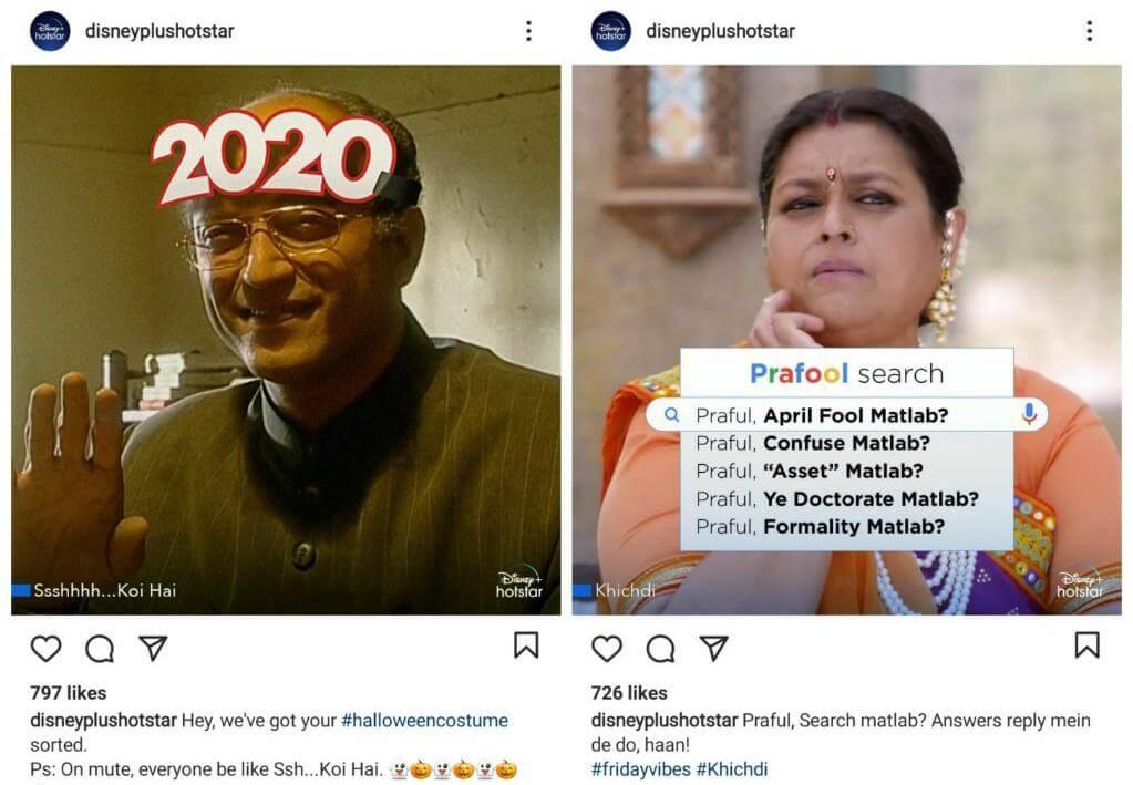 Disney+Hotstar using Meme Marketing Strategy