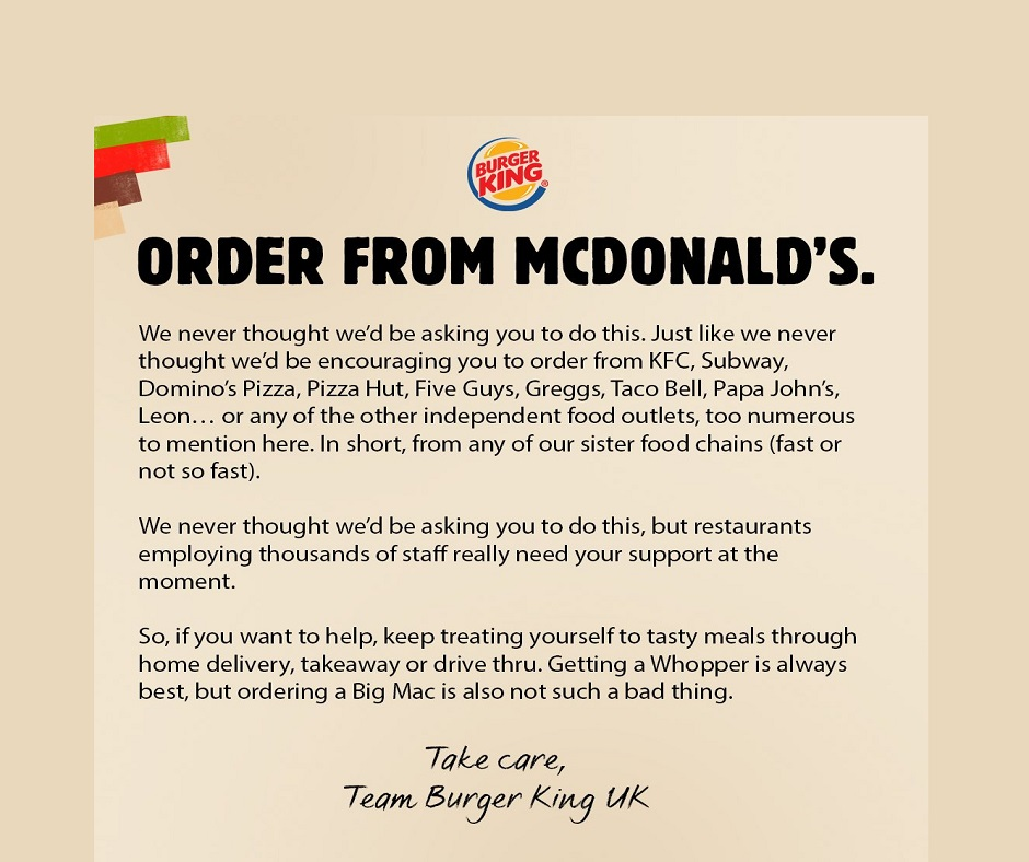Burger King UK arm tweeted a statement titled 'Order from McDonald's. Buzz Marketing