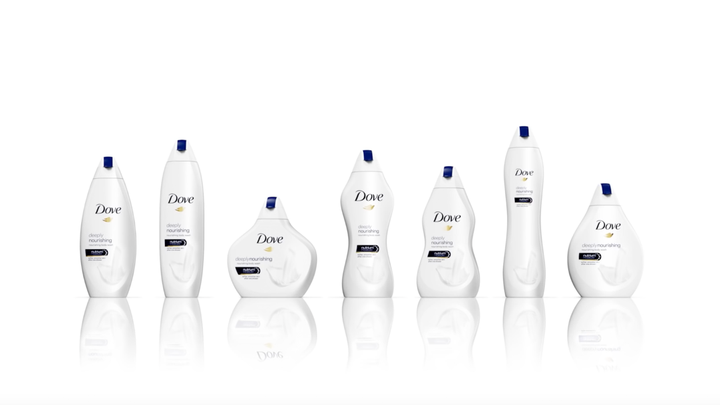 Dove Packaging showing different size of body- example of Marketing Blunder