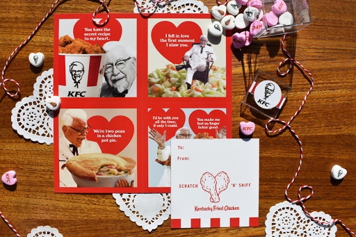 Scratch 'N' Sniff Valentines by KFC- example of scent marketing