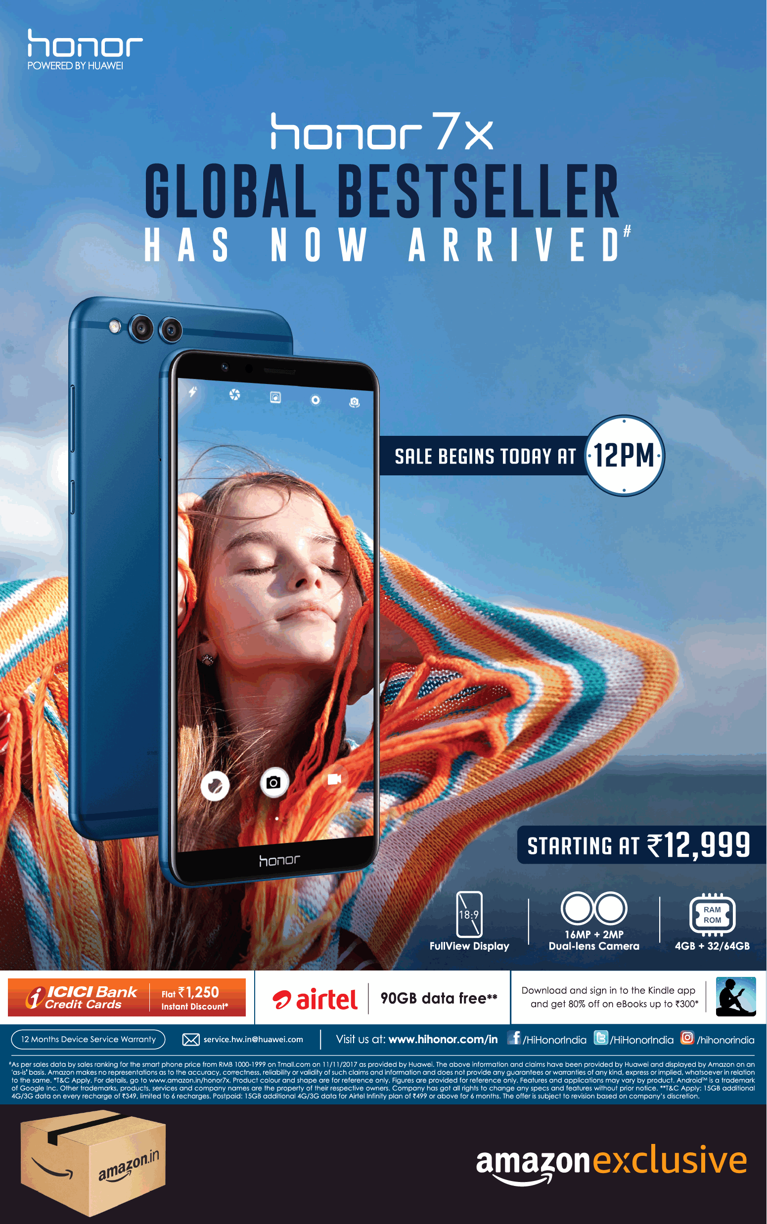 Honor 7X mobile phone is an example of social proof advertising Technique