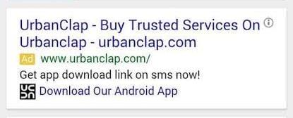 UrbanClap marketing strategy- Google ads