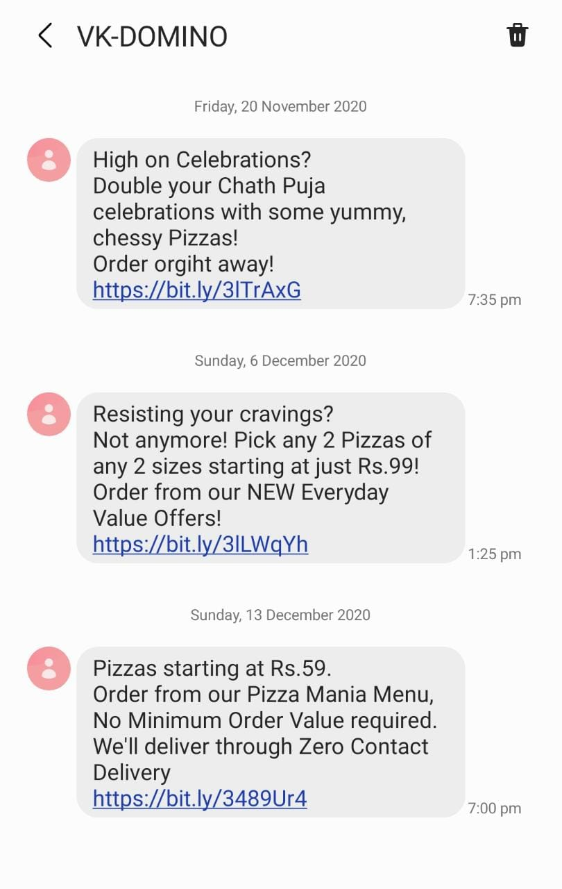 SMS Marketing Strategy used by Dominos