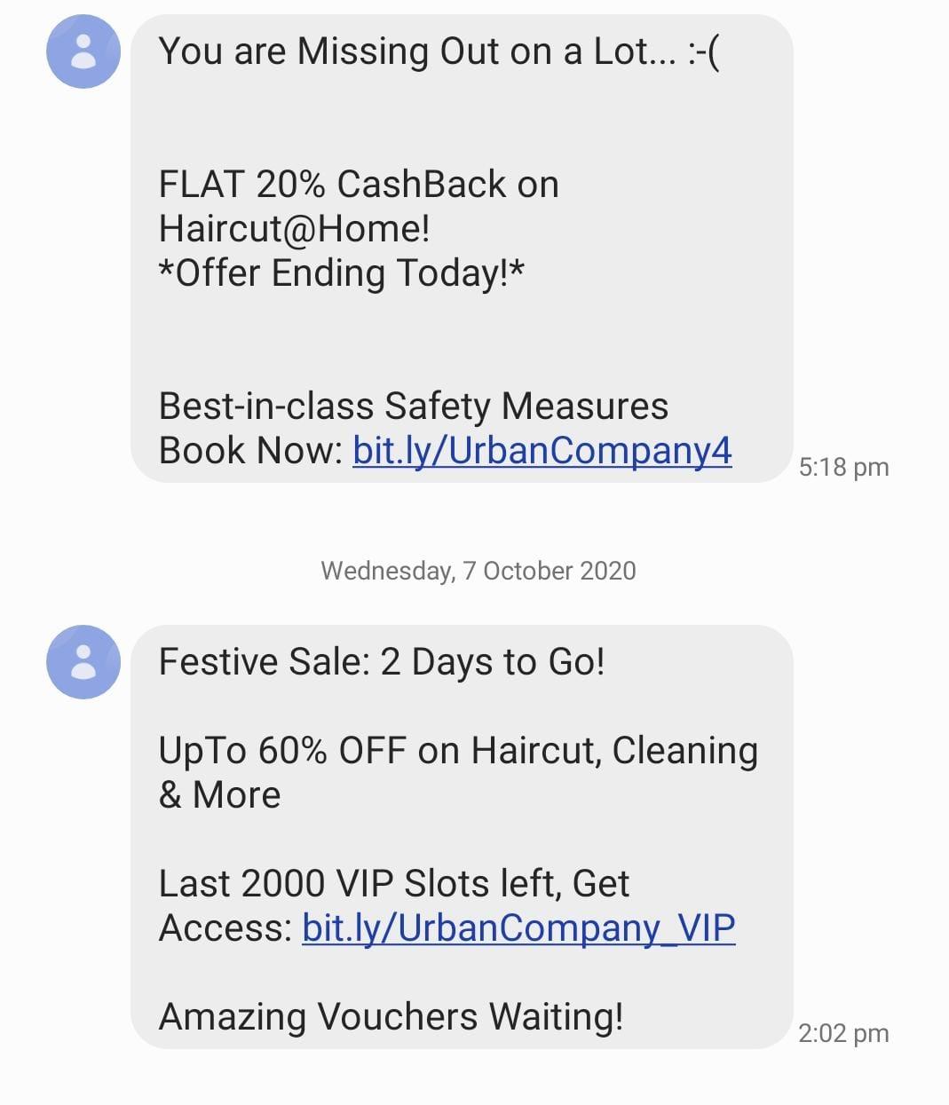 Myntra's SMS marketing